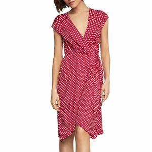 BCBGMAXAZRIA Polka-Dot Faux-Wrap Dress